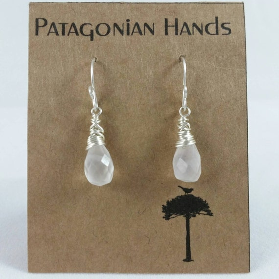 Handmade  Fine Silver (.999) and Sterling silver  earrings with rose Quartz tear drop gemstone. Free shipping in the U. S.