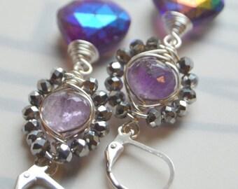 ON SALE amethyst earrings, wire wrapped earrings, purple earrings, silver earrings, African amethyst earrings, wire wrapped, christmas for h