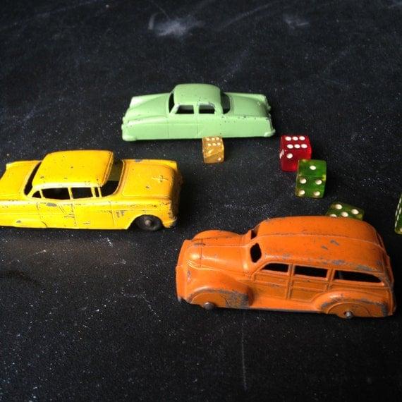 Three Vintage Die Cast 3 Inch Tootsie Toy Cars Woody Wagon 239