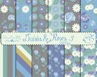 Roses and Daisies 03 Blue Tones {Digital Papers}