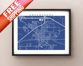Greensburg, IN map art print