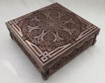 Jewelry Box - carved oriental ornaments and Mandala motifs