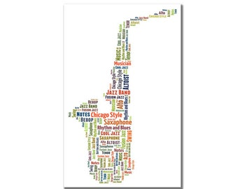 Saxophone - personalised word art for musician