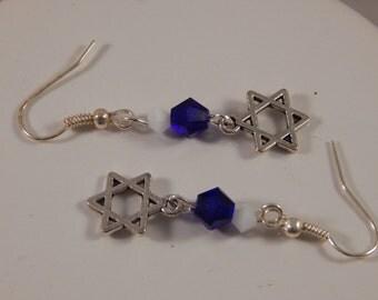 Star of David earrings with swarovski crystals, bat mitzvah or Hanukkah gift, Jewish religious jewelry - Rosh Hashana, Yom Kippur, Purim