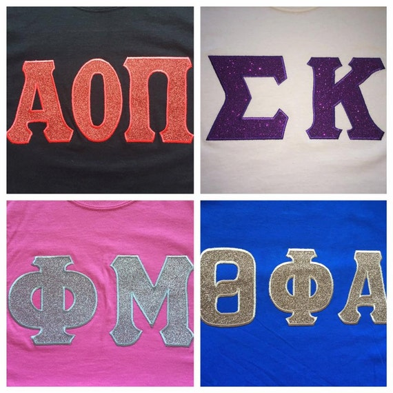 Custom glitter greek letter t shirt longsleeve t shirt or for Custom greek letter t shirts