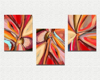 Abstract INSTANT DOWNLOAD Printable Series, Home Decor, Modern Art, Abstract Triptych Colorful Red Orange Blue Digital Printable Art
