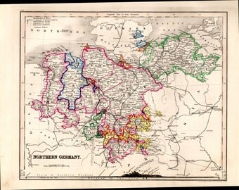 1853 Central Germany Antique Map Hand Colored Geography Cartography Atlas Maps