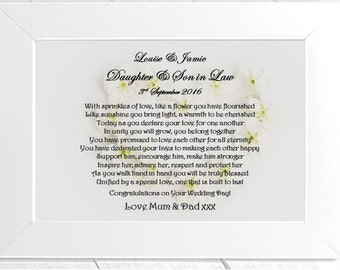 Personalised Daughter & Son in Law Framed Poem