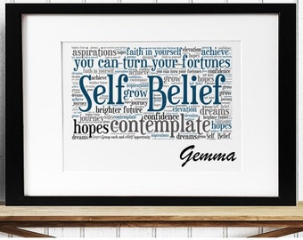 Personalised Inspirational Motivational Word Art - Self Belief