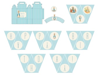 Peter Rabbit Printables Favor Box, wrappers, banner and tags