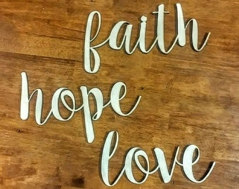 Faith Hope and Love 3D Wooden Wall Art Hanging - Classic home decor