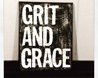 """Canvas Art Quote """"Grit And Grace"""" 11 X 14 Canvas"""