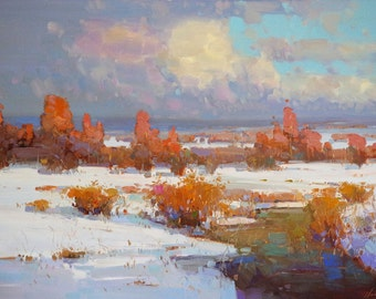 Landscape, Meadow Winter, Lage Size La Original oil Painting on Canvas Handmade painting, 30 x 45 in One of a kind , Signed