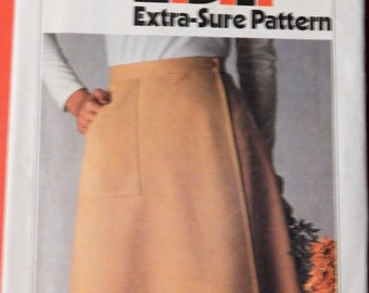 Vintage skirt pattern Simplicity 8112 Mock wrap skirt pattern Uncut Sizes 10, 12 and 14