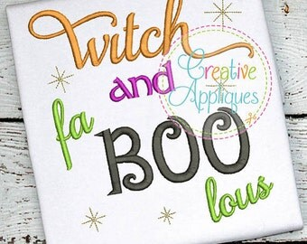 Personalized Halloween Witch and fa BOO lous Applique Shirt or Onesie for Boy or Girl
