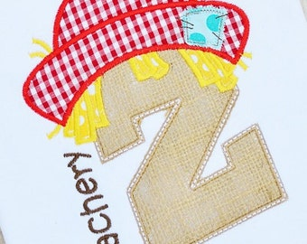 Personalized Scarecrow Initial Applique Shirt or Onesie for Boy or Girl