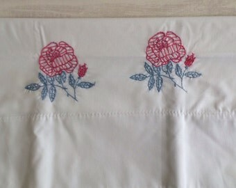 White Pillowcase With Embroidered Roses