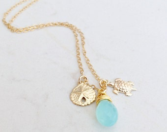 personalized aqua gemstone Necklace sand dollar turtle hand stamped initials aqua jewelry all 14k gold filled quartz necklace beach jewelry