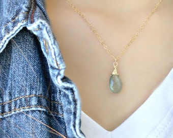 14k gold filled Aquamarine Necklace Moss Aquamarine Necklace Aquamarine Jewelry Bridesmaid Sets Beach Wedding March Birthstone necklace gift