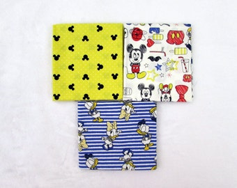 Disney Mickey and Minnie Mouse Fabric 3 Fat Quarter Bundle From Camelot 532