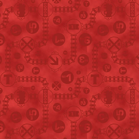 Thomas the train fast friends red tracks signs fabric from for Train fabric by the yard