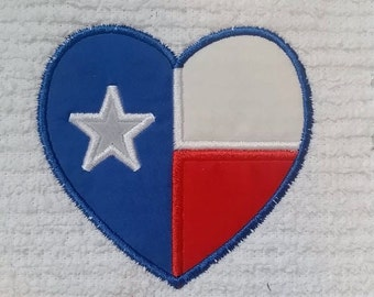 Texas Flag Heart Applique - Lonestar State - 4 x 4 and 5 x 7 - DIGITAL Embroidery Design