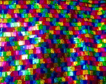 1 yard Rainbow Multicolor Sequin Fabric,Holographic Sequin Kimono,Sparkly Rectangular Sequins on Mesh Fabric for Dress Costumes