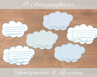 Clouds - 18 recycling adress labels / cut by hand / sticker