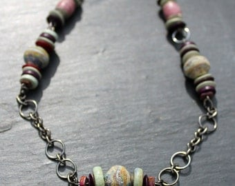 Boho style etched glass bead and chain necklace