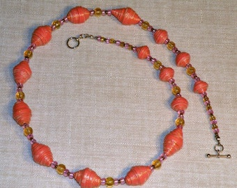 Pink Apricot and Yellow Chunky Necklace and Earrings