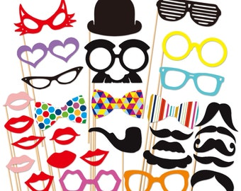 PhotoBooth Props Wedding Photo Props 31 Piece set - Holidays Photobooth Props - Party Props