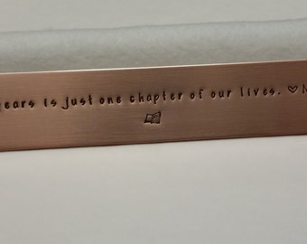 Copper bookmark, personalized bookmark, 7th anniversary gift,  Christmas gift