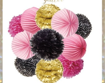Pink, Black & White Polka Dot and Gold Welcome to Paris Pom Poms and Lanterns set