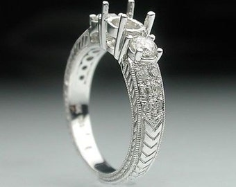 0.55 Cttw Round Cut Diamonds Semi Mount Engagement Ring in 14K White Gold