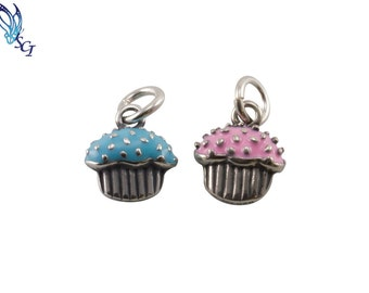 Sterling Silver Blue Turquoise OR Pink Cupcake Charm, Gift for Her, Cupcake Lover, Bulk Silver Charms, Jewelry Charms, Cupcake, CM004-9FB