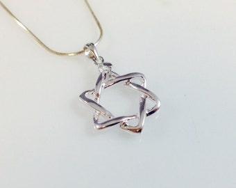 star of david pendant  , magen david  Judaica symbol  sterling silver 925