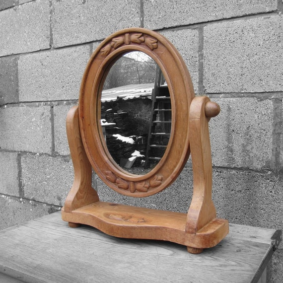 Dressing Table Mirror - Antique Rustic Wooden Pine