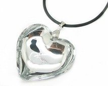 "Large Clear Glass Puff Heart Pendant Charm Necklace Black Leather Cord 19"" Long"