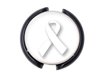 White Ribbon Awareness Ribbon Stethoscope ID tag, Name Tag, ID Tag
