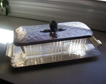 1950s Rodney Kent Hammered Aluminum and Glass Covered Butter Dish and Tray