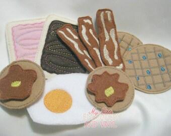 Set of 12 piece embroidered felt breakfast play food
