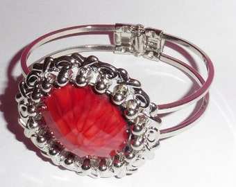 Handmade bracelet bangle with large Red Viened stone
