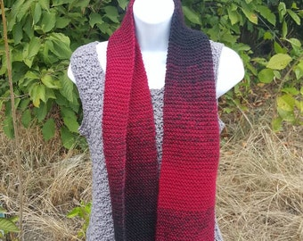 Super soft knit scarf, winter wear, holiday gift, woman scarf, scarves and wraps cranberry/black