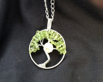 Handmade silver, peridot and mother of pearl tree of life pendant