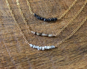 Raw Diamond Necklace / Gold necklace / white champagne black diamonds / rustic simple earthy boho bridal coachella free people