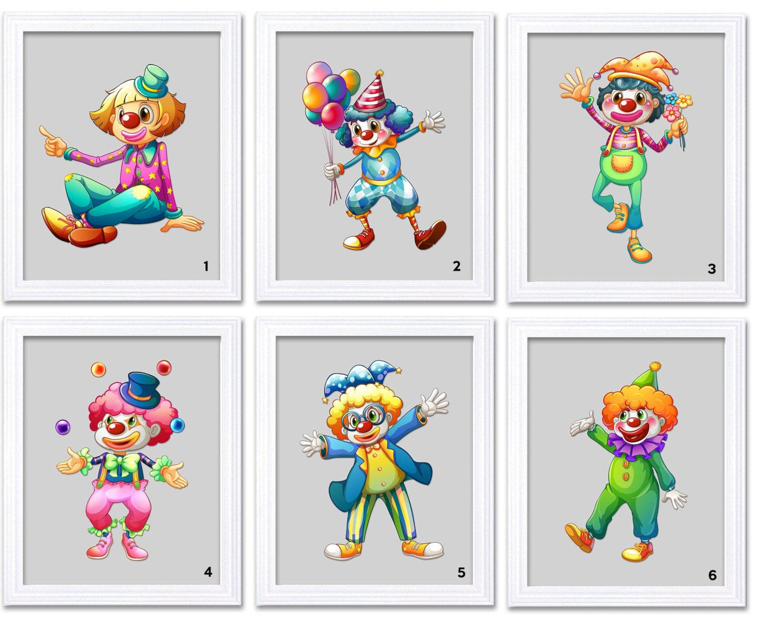 Carnival Circus Clowns Grey Nursery Art Print Mix and Match Child Baby Boys Kids Room Wall Decor Bal