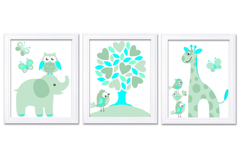 Mint Green Aqua Blue Turquoise Nursery Art Print Set of 3 Elephant Owl Bird Tree Giraffe Baby Nurser
