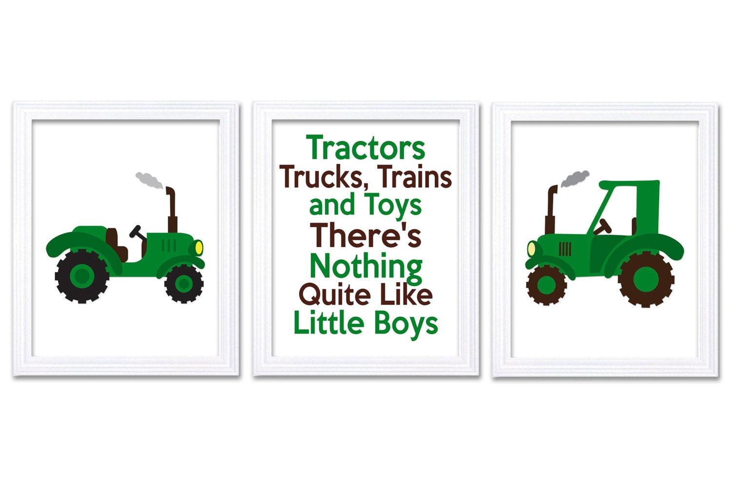 Nursery Art Tractors Trucks and Toys Theres Nothing Quite Like Little Boys Print Set of 3 Green Brow