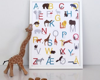 illustrated poster of the norwegian alphabet with Animals format 30x40cm, printed on Epson paper 192g