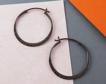 Oxidised Silver Earrings, Silver Hoops, Black Silver Earring, Textured Earring, Small Hoops, Hoops, Boho Earrings, Modern Earrings, Hammered
